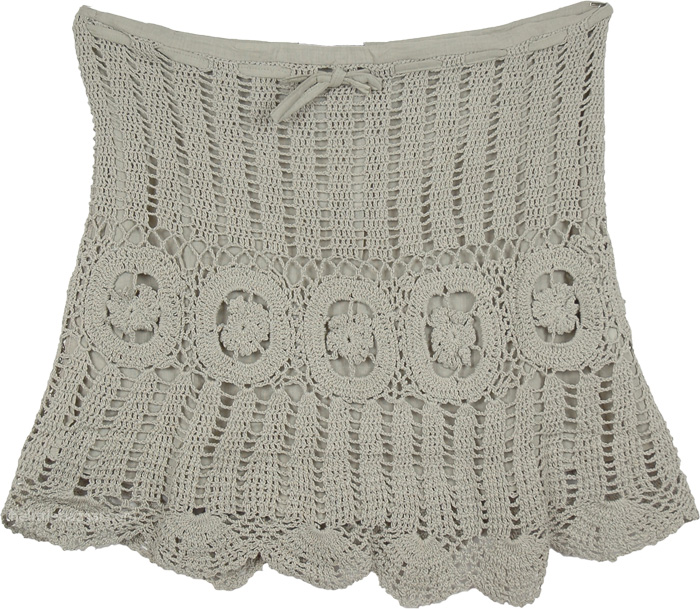 Grey Short Crochet Skirt , Napa Grey Crochet Short Fashion Skirt