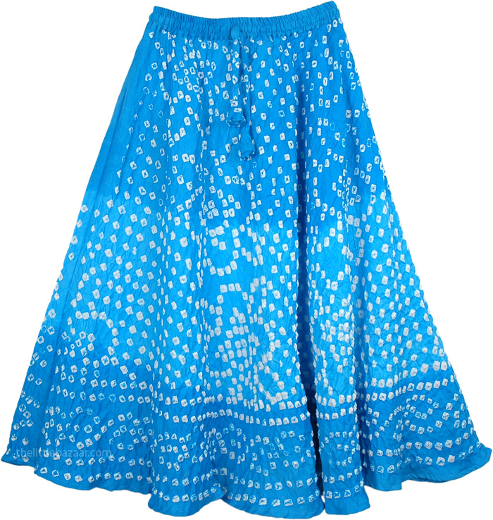 Juniors Tie Dye Cotton Skirt, Horizon Blue Junior Tie Dye Skirt