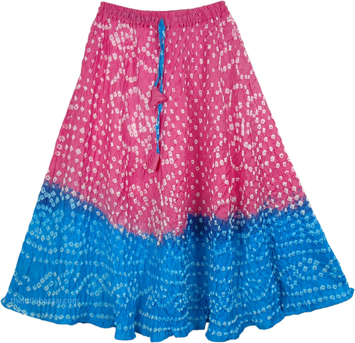 Pink Blue Tie Dye Teen Skirt, Hibiscus Junior Cotton Skirt