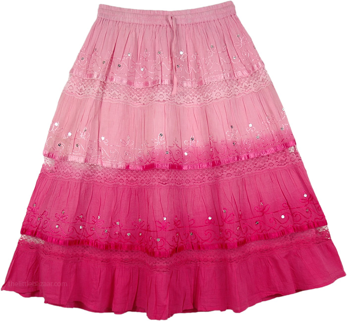 Ombre Pink Sequins Decorated Skirt, Cabaret Ombre Elastic Waist Cotton Skirt