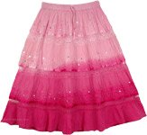 Ombre Pink Sequins Decorated Skirt [4130]