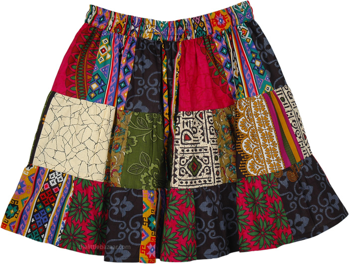 Colorful Short Skirt, Happy Go Lucky Short Patchwork Skirt
