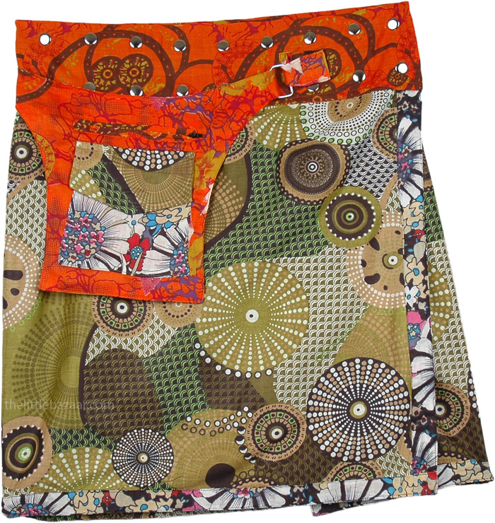 Patchwork Pocket Wrap Around Skirt, Wrap Around Short Skirt with Pockets