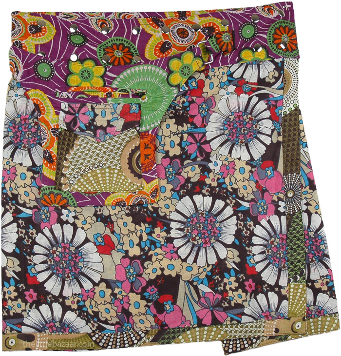 Unique Bohemian Multipurpose Skirt, Abstract Retro Style Floral Wrap Pocket Skirt