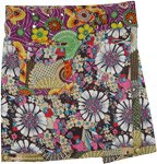 Abstract Retro Style Floral Wrap Pocket Skirt