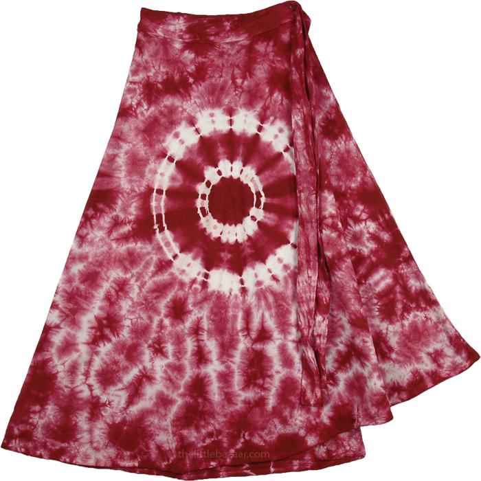 Bright Colorful Tie Dye Short skirt , Moccacino Flares Cotton Wrap Around Short Skirt