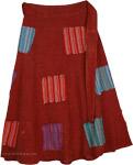 Old Brick Stripes Patchwork Wrapper Skirt
