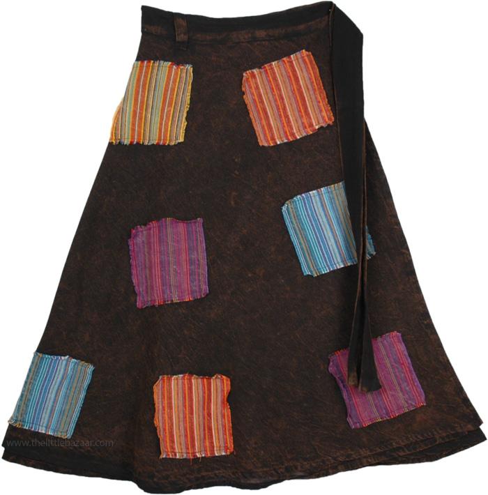 Stonewashed Wrap Around Skirt, Cocoa Brown Stripes Patches Wrap Skirt