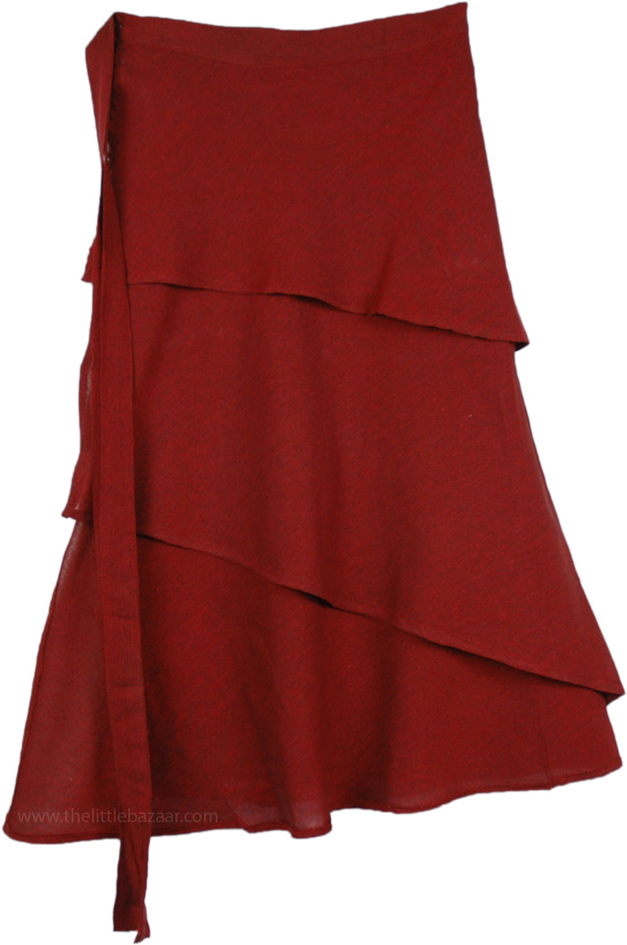 Solid Dark Red Layered Short Skirt, Falu Red Layered Wrapper Skirt