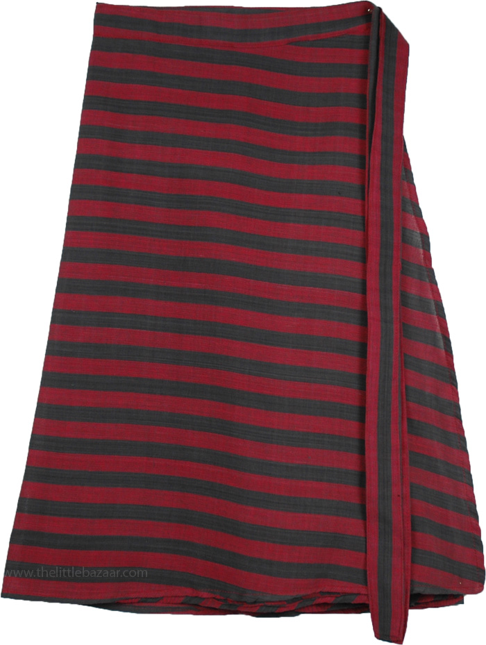 Crowns of Thorns Wrap Skirt, Persian Plum Striped Short Wrap Around Skirt