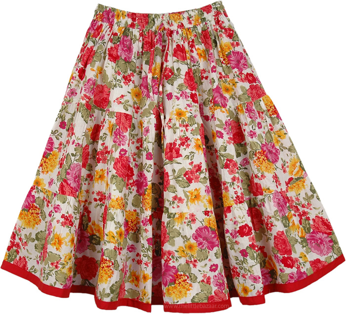 Floral Multicolor Short Summer Skirt, Spring in Bloom Full Short Skirt
