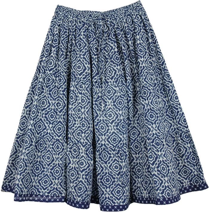 Bright Blue Short Skirt, Blue Bay Cotton Short Skirt