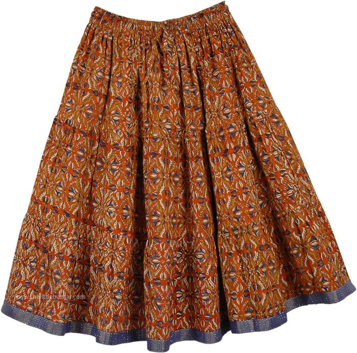 Peppy Short Knee Length Womens Skirt, Rust Magic Sweep Knee Length Skirt