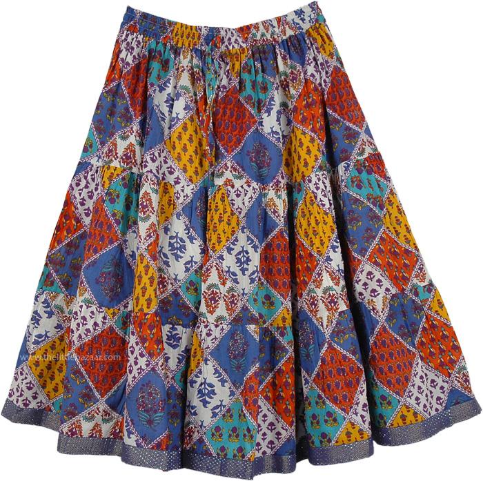 Boho Vibe Short Skirt , Retro Bright Colors Short Skirt