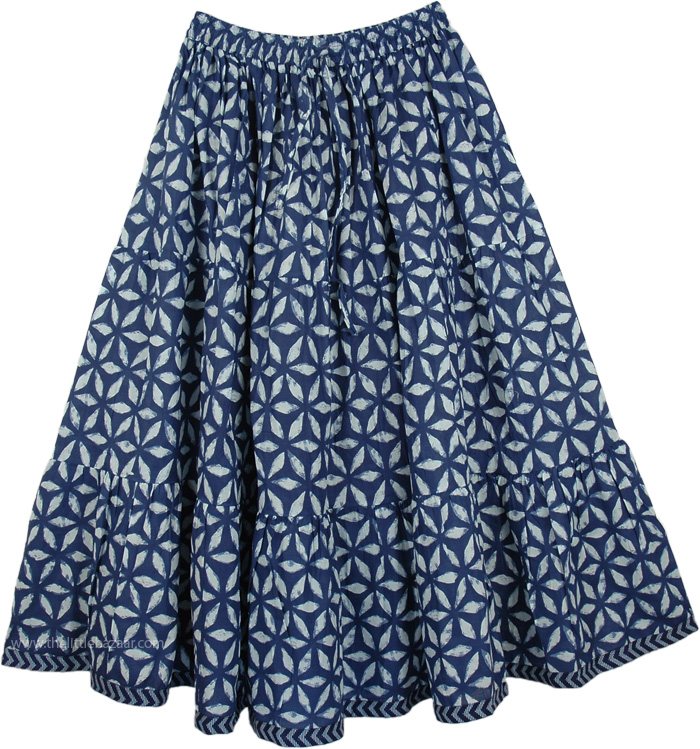 Floral Blue Short Summer Skirt, Venice Blue Printed Skirt in Short
