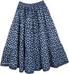 Floral Blue Short Summer Skirt [4360]