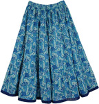 Short Skirt in Blue Floral [4362]