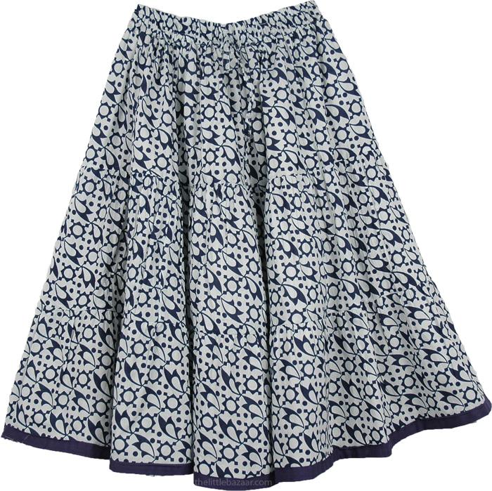 White Short Skirt in Pure Cotton, Abstract Steel Gray On White Boho Skirt