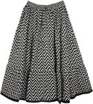 Chevron Printed Skirt in Black White [4364]