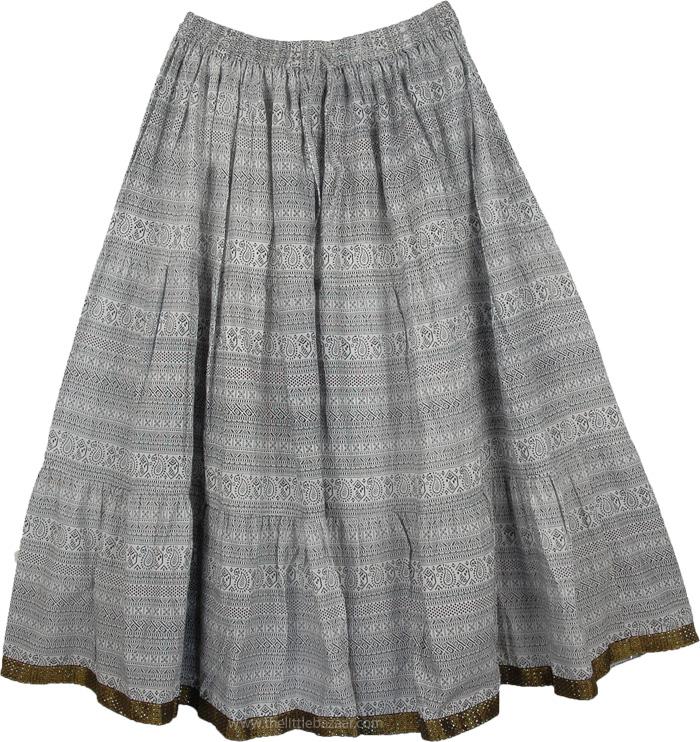 White Black Patterned Skirt, Full Short Skirt with Brocade Ribbon Hem