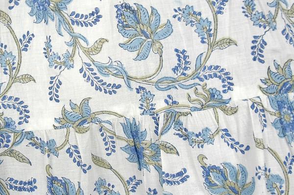 Hydrangea Blue Cotton Summer Knee Length Skirt