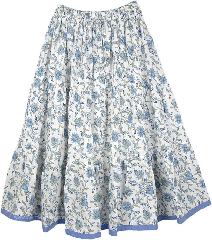 Blue Floral Cotton Printed Long Skirt, Hydrangea Blue Cotton Summer Knee Length Skirt