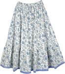 Blue Floral Cotton Printed Long Skirt [4378]