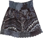 Smocked Waist Black Short Skirt [4404]