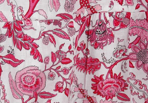Crimson Pink Floral Short Summer Skirt