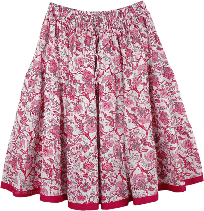 Floral Pink Short Summer Skirt, Crimson Pink Floral Short Summer Skirt