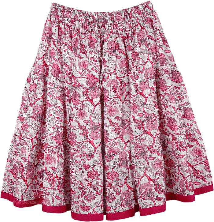 Floral Pink Short Summer Skirt, Crimson Pink Floral Short Summer Skirt