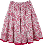 Floral Pink Short Summer Skirt [4473]