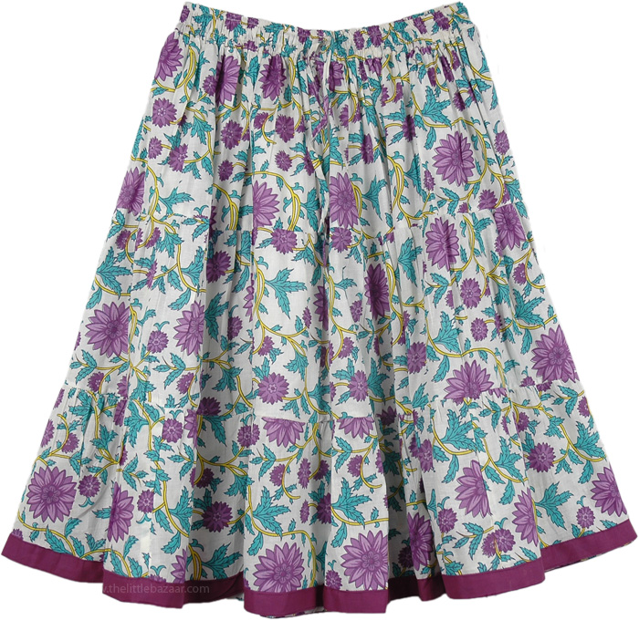 White Short Skirt with Violet Flowers, Wisteria Flowers Short Summer Skirt