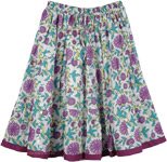 White Short Skirt with Violet Flowers [4475]