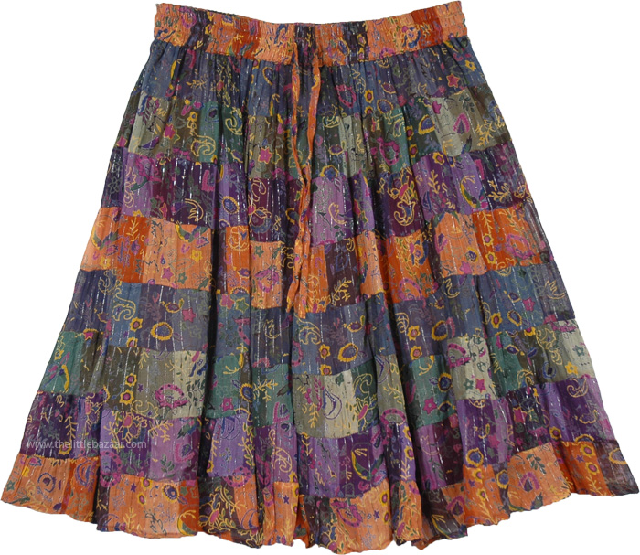 Short Skirt in Multicolor with Tinsel Highlights, Tinsel Lady Short Princess Skirt