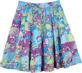 Short Skirt in Blue Floral Tiers [4482]