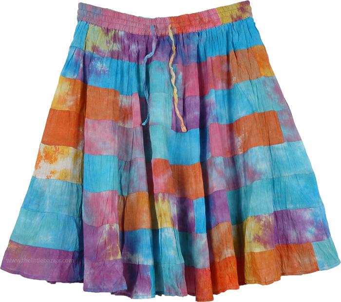 8 Tiered Flexible Waist Short Skirt, Rainbow Multi Color Patchwork Short Skirt