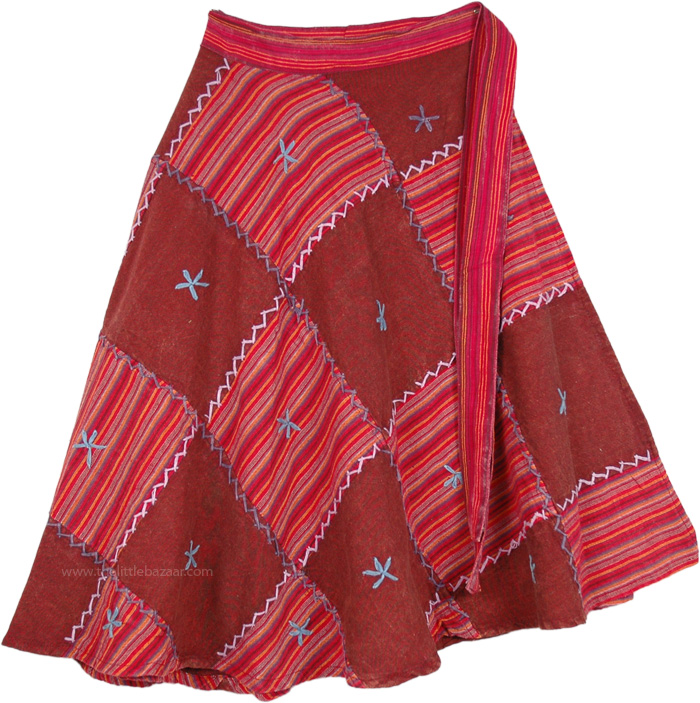 Patchwork Light Embroidery Red Skirt, Rosa Rojo Patchwork Wraparound Skirt