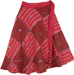 Patchwork Light Embroidery Red Skirt [4544]