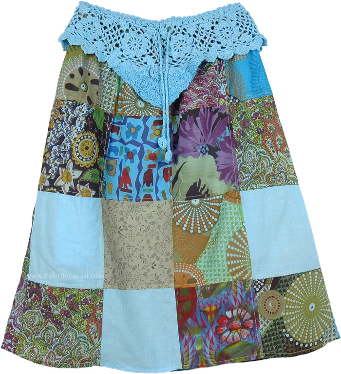 Set Sail to Boho Land Patchwork Skirt, Blue Knee Length Patchwork Skirt Crochet Yoke
