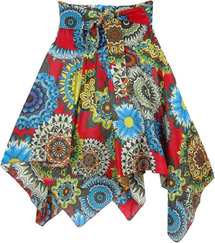 Heavy Floral Printed Multicolor Short Skirt, Forever Fun Floral Printed Asymmetrical Skirt