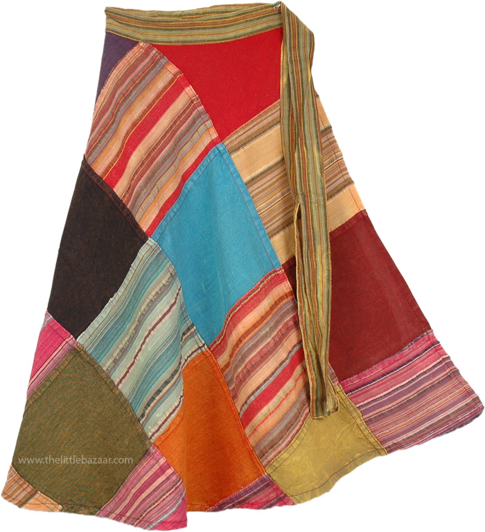 Boho Patch Multicolored Cotton Wrap Around, Dolphin Patch Short Wrap Around Skirt