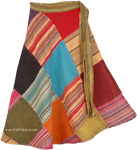 Boho Patch Multicolored Cotton Wrap Around [4576]