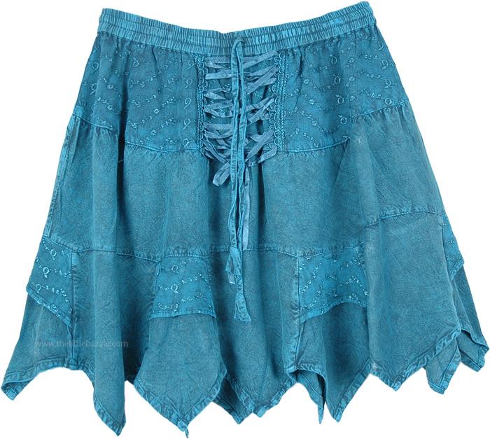 Groovy Summer Lace-Up Short Skirt , Beach Days Short Skirt in Cobalt Blue