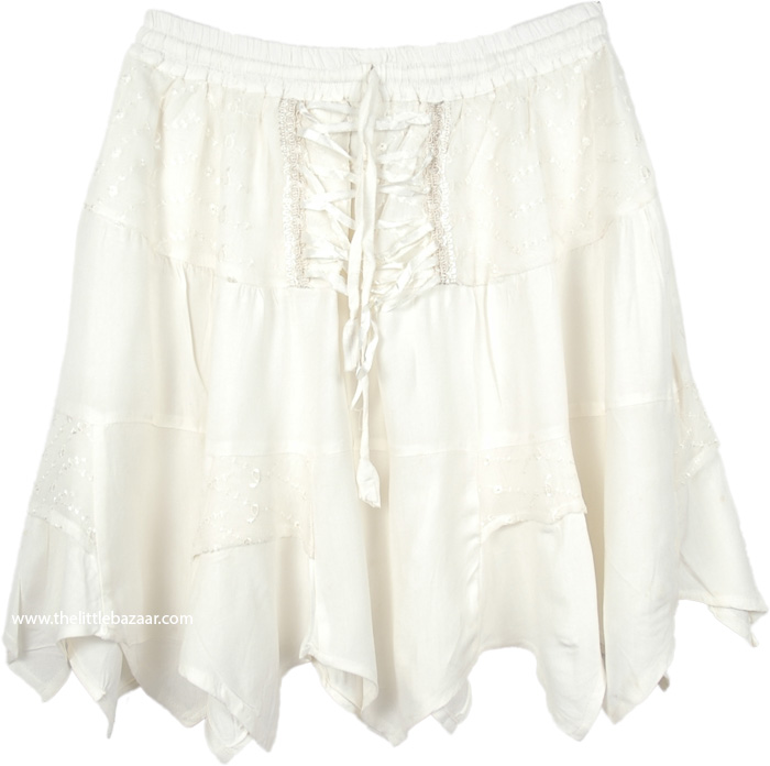 Snow White Lace-up Mini Skirt