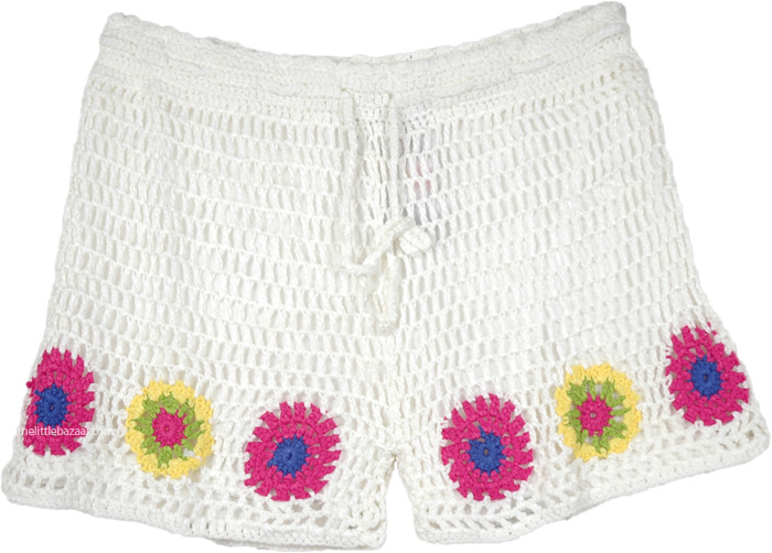 White Crochet Shorts in Multicolor Flowers, Crochet Boy Shorts in White For Women