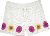 White Crochet Shorts in Multicolor Flowers [4622]
