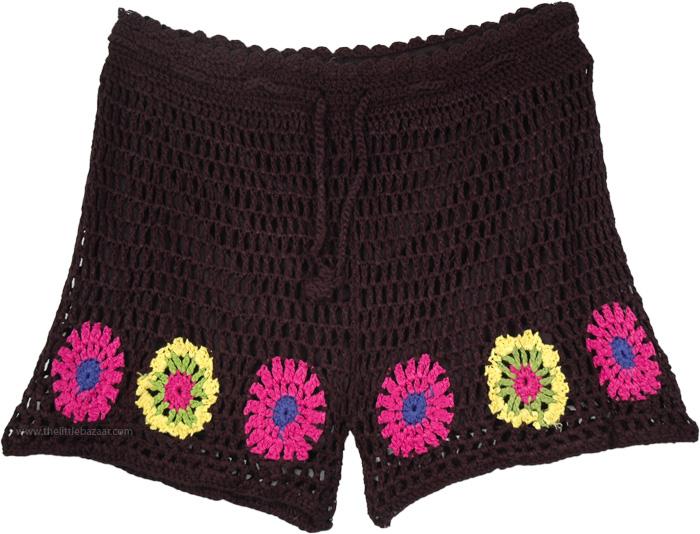 Boy Shorts in Black Crochet, Black Shorts in Crochet with Flower Pattern
