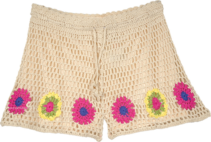 Trendy Crochet Short Island Cruise Wear, Beach Sand Shorts with Flower Pattern