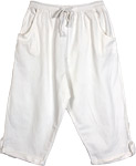 Solid White Rayon Shorts with Front Pockets and Drawstrings